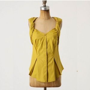 Anthro Odille Sculpted Mustard Blouse